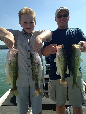 """John and Matt Thurston with a few of the more than 20 Lake Travis """"schoolies"""" caught on July 30th"""